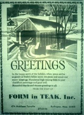 Form in Teak old ad, Burlington MA