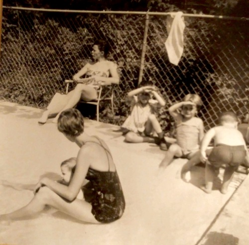 YWCA pool. Photo Credit: Kimberley Gordon Silva (seen shading her face, second from right)