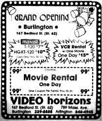 Video Horizons Burlington MA