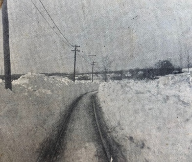 Electric car tracks, Center Street, Burlington MA 1880. Farms Drive is now on the left, and the Recreation/Senior Center is on the right.