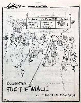 Mall traffic cartoon by Steve Miles